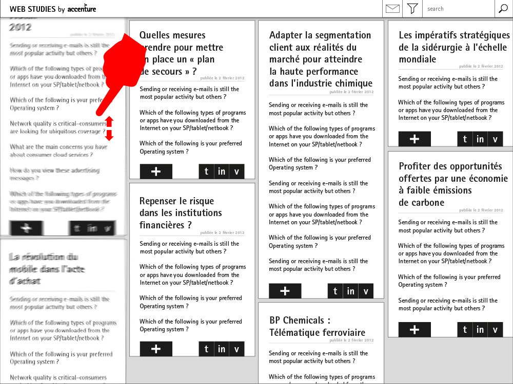 Wireframe application mobile Web Studies by Accenture
