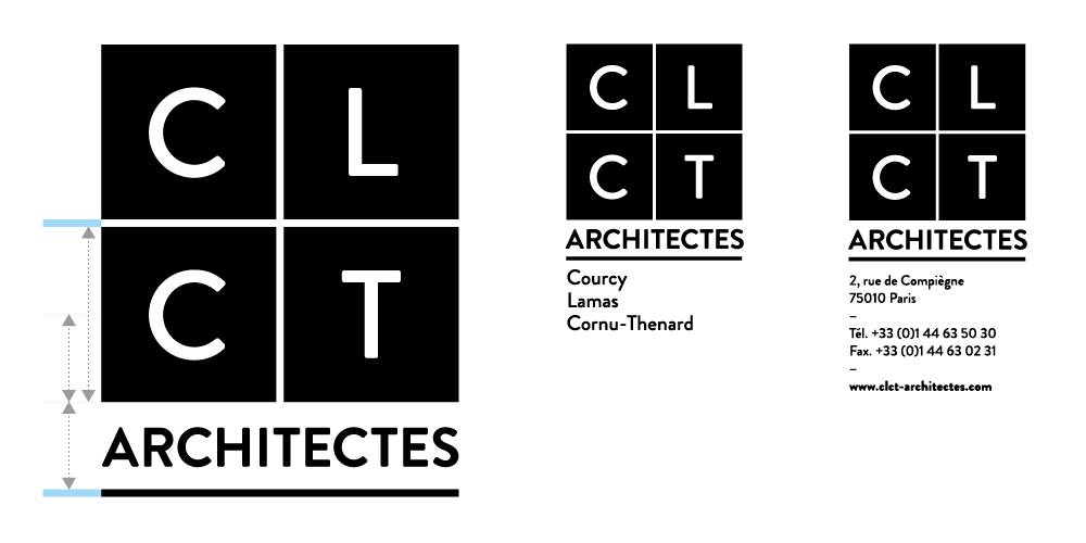Construction du logotype CLCT Architectes