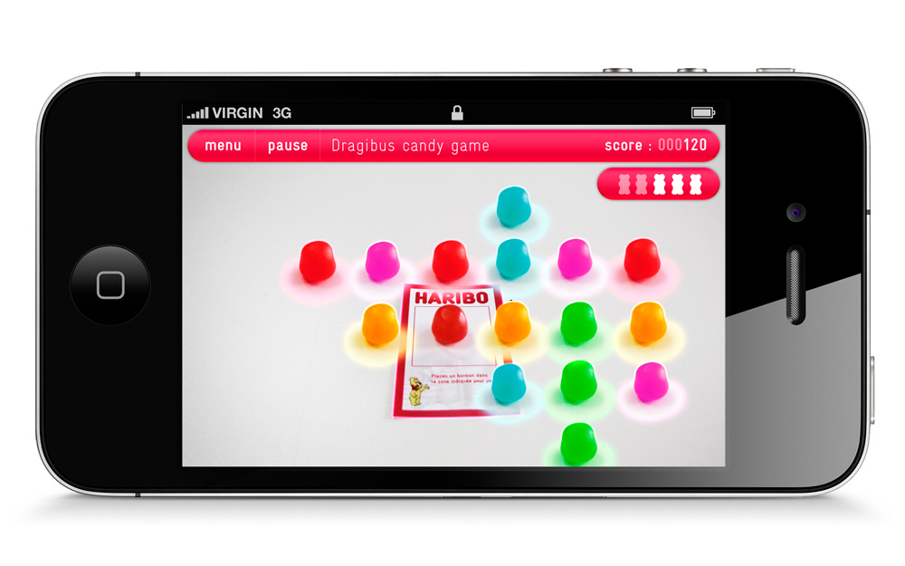 design d'interface application mobile en réalité augmenté Haribo